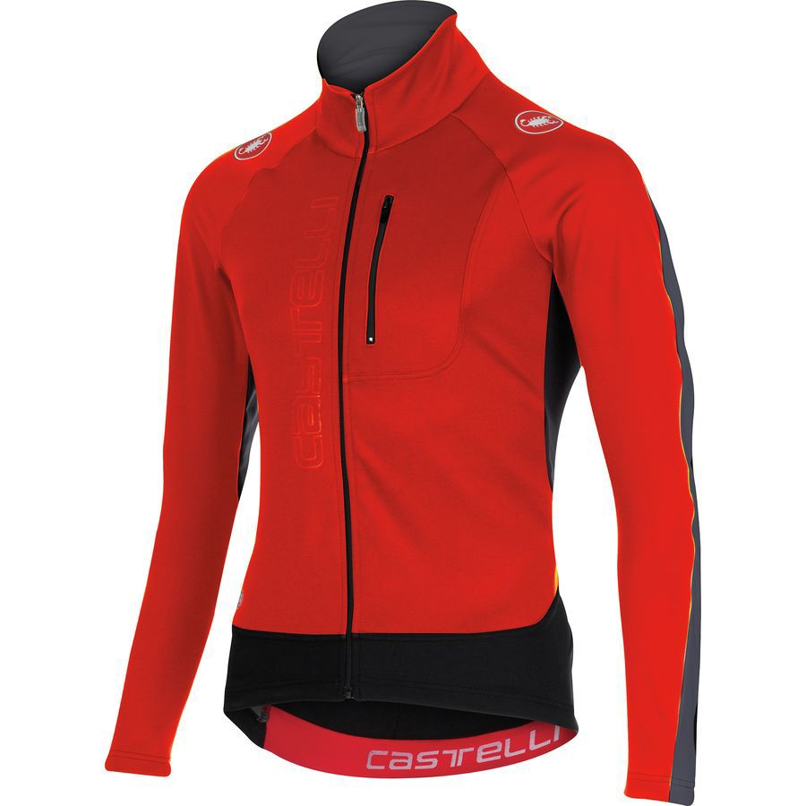 Castelli Trasparente 3 Wind Full-Zip Jersey - Long Sleeve - Men's Red Black Anthracite アウトドア メンズ 男性用 バイクウェア バイクジャージ 自転車