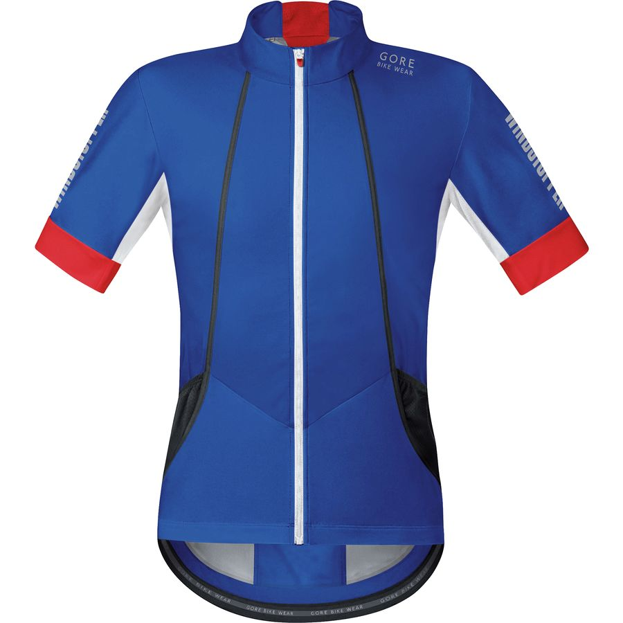 Gore Bike Wear Oxygen WindStopper Soft Shell Jersey - Short-Sleeve - Men's Brilliant Blue Red アウトドア メンズ 男性用 バイクウェア バイクジャージ 自転車