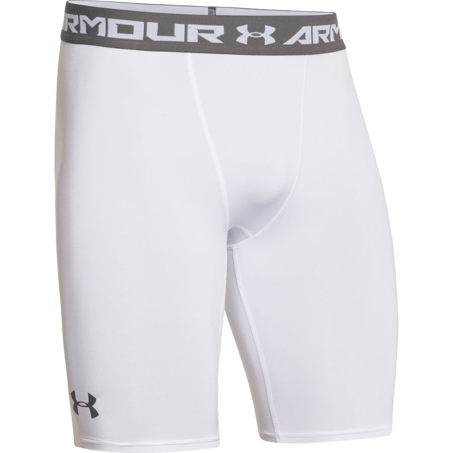 Under Armour Heatgear Compression Short Long - Men's White Graphite アウトドア メンズ 男性用 パンツ ズボン スラックス タイツ Performance Tights