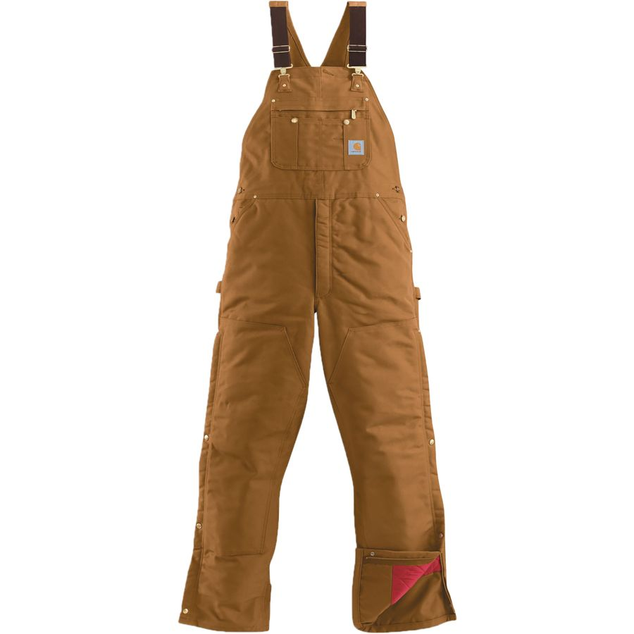 Carhartt Quilt-Lined Zip-To-Thigh Bib Overall Pant - Men's Carhartt Brown アウトドア メンズ 男性用 パンツ ズボン スラックス Insulated Pants