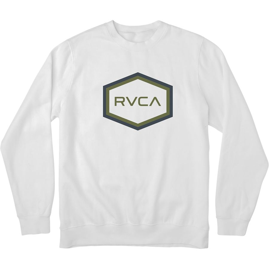 RVCA Double Hex RVCA Crew Sweatshirt - Men's White アウトドア メンズ 男性用 パーカー スウェット Hoodies & Sweatshirts