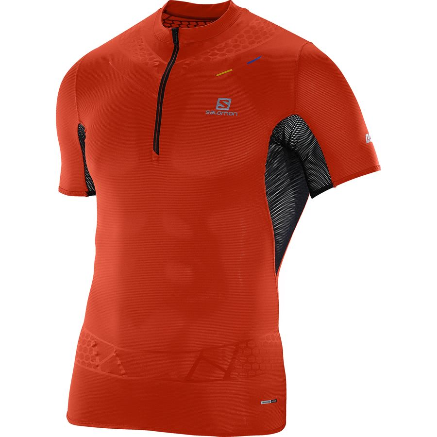 Salomon S-Lab Exo Zip Shirt - Short-Sleeve - Men's Racing Red Black アウトドア メンズ 男性用 シャツ Performance Shirts