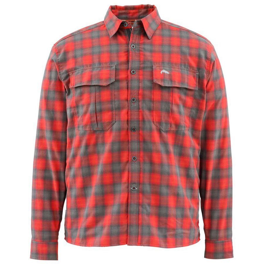 Simms Cold Weather Long-Sleeve Shirt - Men's Fury Orange Plaid アウトドア メンズ 男性用 シャツ Button-Down Shirts