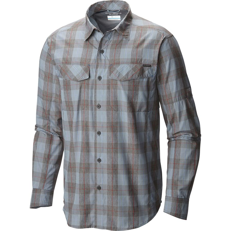 Columbia Silver Ridge Plaid Shirt - Men's Steel Heathered Plaid アウトドア メンズ 男性用 シャツ Button-Down Shirts