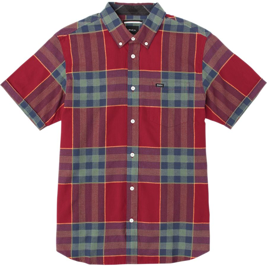 RVCA Brookfield Shirt - Short-Sleeve - Men's Red Hot アウトドア メンズ 男性用 シャツ Button-Down Shirts