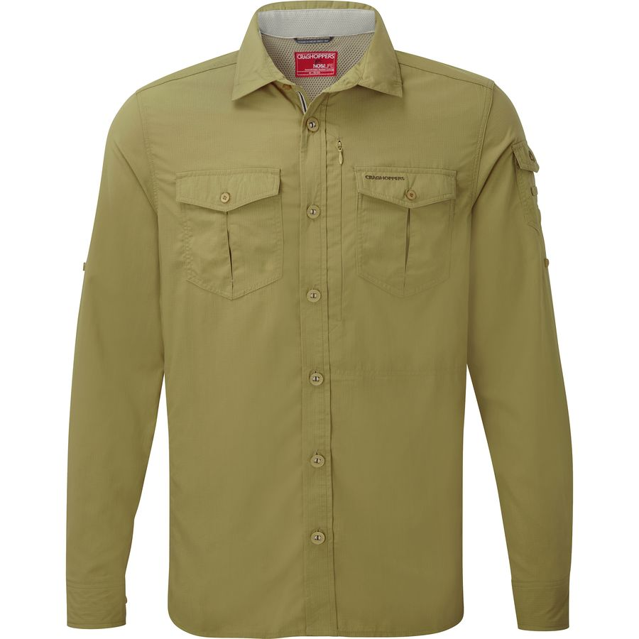Craghoppers NosiLife Adventure Shirt - Long-Sleeve - Men's Light Olive アウトドア メンズ 男性用 シャツ Button-Down Shirts