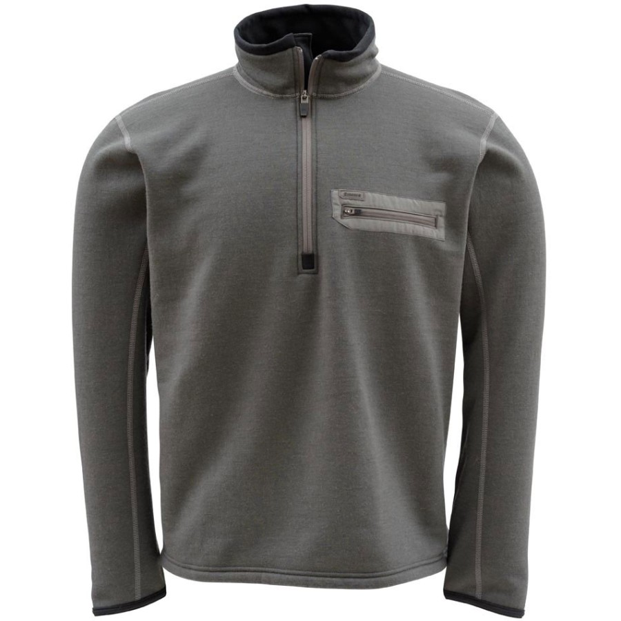 Simms Montana Techwool 1 2-Zip Top - Men's Dark Gunmetal アウトドア メンズ 男性用 セーター Sweaters