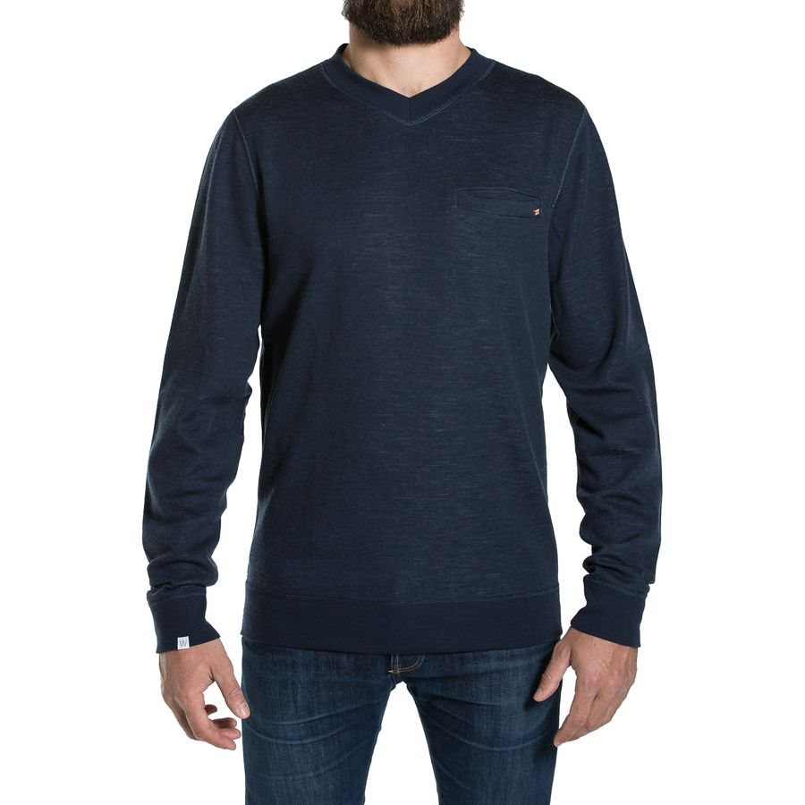 We Norwegians BaseTwo V-Neck Sweatshirt - Men's Jeans Blue アウトドア メンズ 男性用 セーター Sweaters