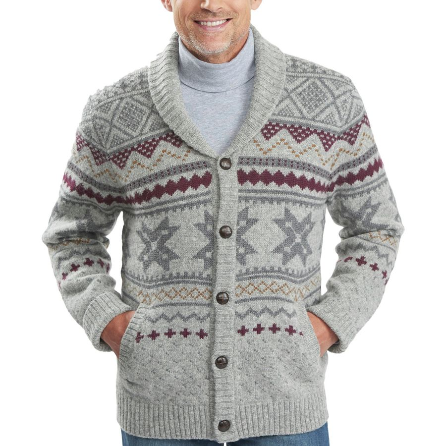 Woolrich Ultra-Line Fair Isle Cardigan - Men's Gray Heather アウトドア メンズ 男性用 セーター Sweaters