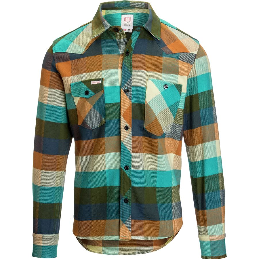 Topo Designs Heavyweight Work Shirt - Men's Aqua Olive アウトドア メンズ 男性用 シャツ ジャケット Flannel Shirts And Jackets