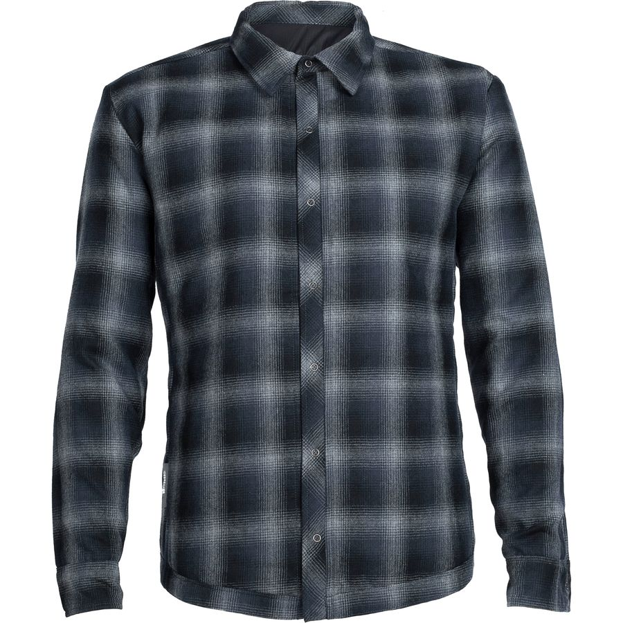 Icebreaker Helix MerinoLoft Shirt - Long-Sleeve - Men's Black Metro Heather Stealth アウトドア メンズ 男性用 シャツ ジャケット Flannel Shirts And Jackets