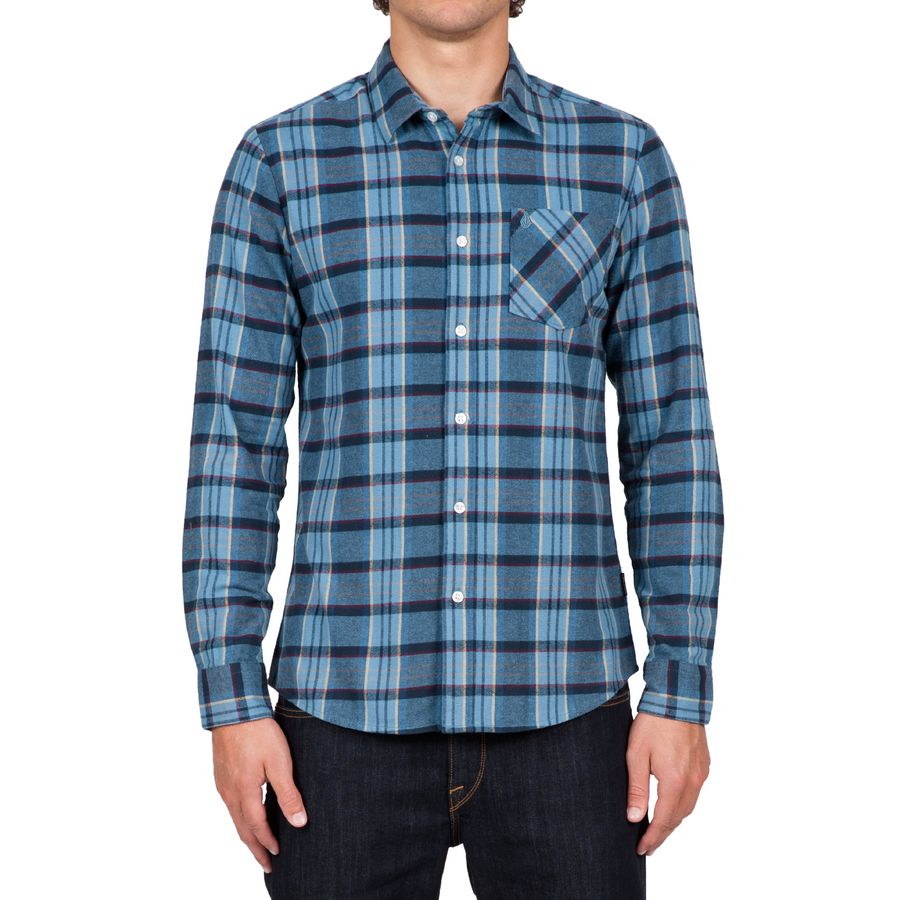 Volcom Gaines Shirt - Men's Blue Fog アウトドア メンズ 男性用 シャツ ジャケット Flannel Shirts And Jackets