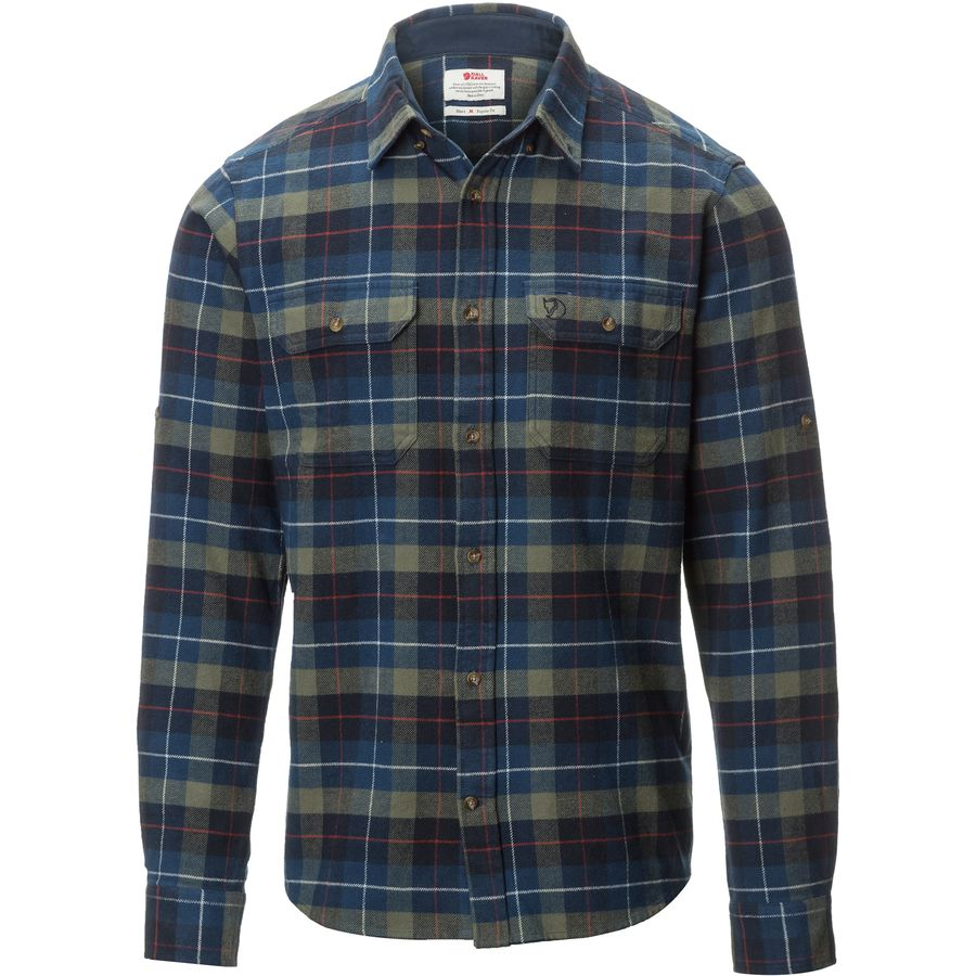 Fjallraven Singi Heavy Flannel Shirt - Long-Sleeve - Men's Navy アウトドア メンズ 男性用 シャツ ジャケット Flannel Shirts And Jackets