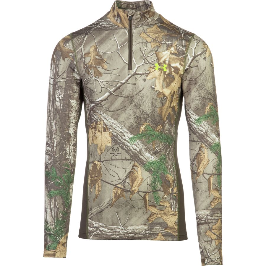 Under Armour ColdGear Infrared Scent Control Tevo Zip-Neck Top - Men's Realtree AP Xtra Velocity アウトドア メンズ 男性用 ロングアンダーウェア Long Underwear