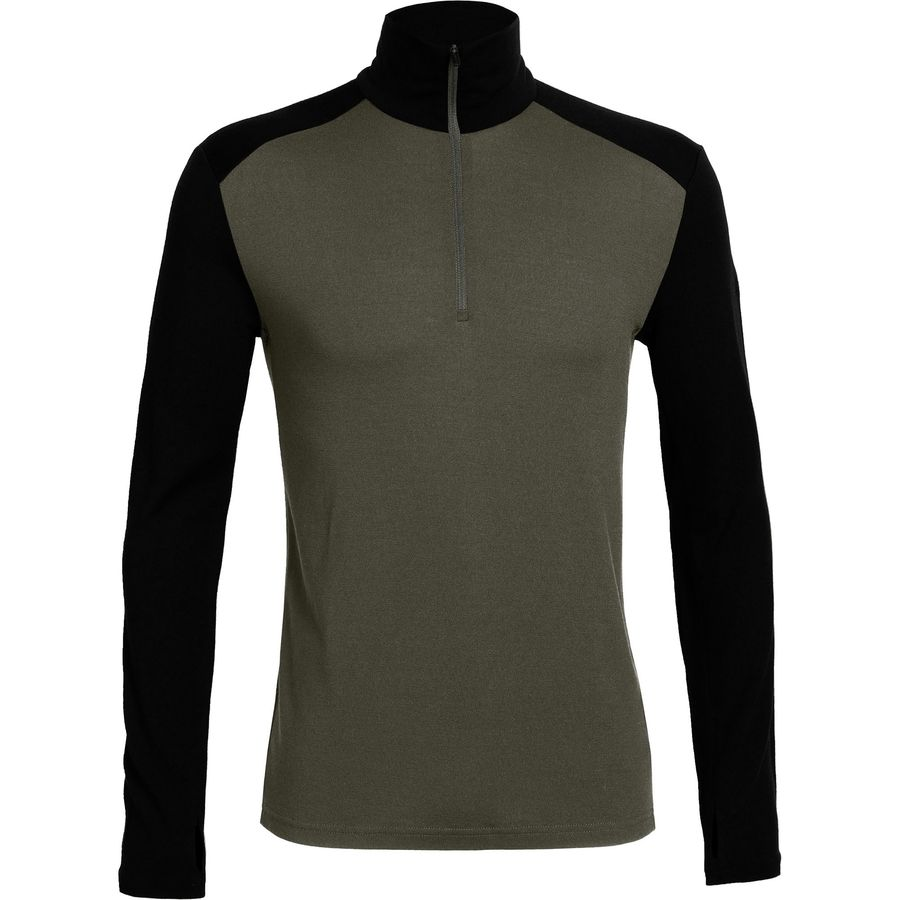 Icebreaker Bodyfit 260 Midweight Tech Top 1 2-Zip Crew - Men's Monsoon Black Monsoon アウトドア メンズ 男性用 ロングアンダーウェア Long Underwear