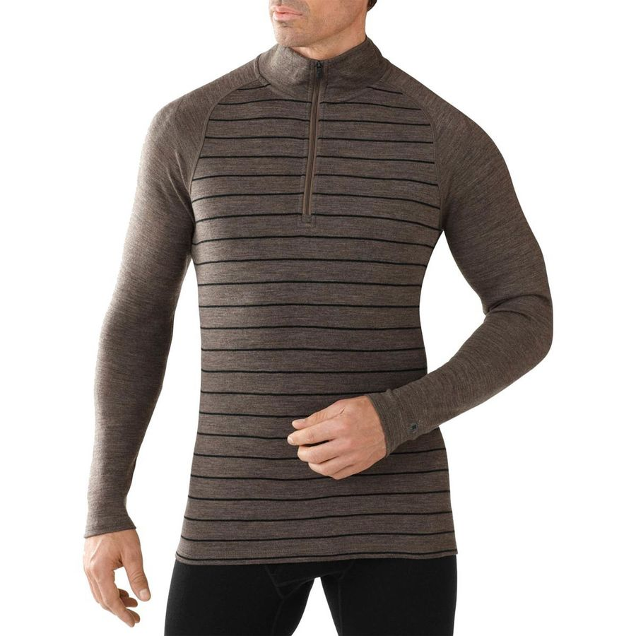 SmartWool Merino 250 1 4-Zip Pattern Top - Men's Taupe Heather Black アウトドア メンズ 男性用 ロングアンダーウェア Long Underwear