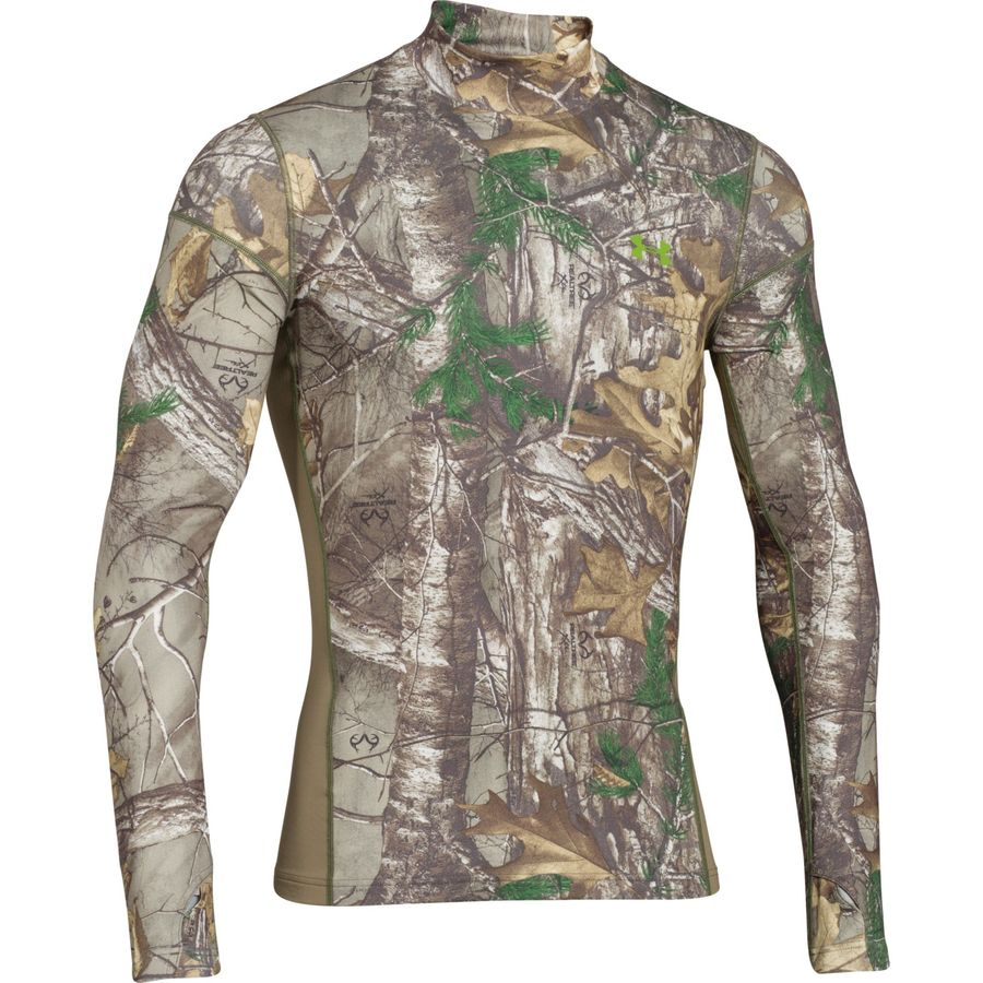 Under Armour ColdGear Infrared Scent Control Tevo Mock-Neck Top - Men's Realtree AP Xtra Velocity アウトドア メンズ 男性用 ロングアンダーウェア Long Underwear