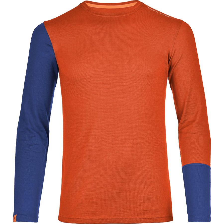 Ortovox 185 Rock N Wool Long-Sleeve Top - Men's Crazy Orange アウトドア メンズ 男性用 ロングアンダーウェア Long Underwear