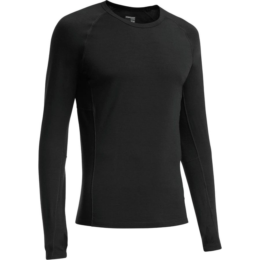 Icebreaker Bodyfit 200 Lightweight Zone Crew - Long-Sleeve - Men's Black Monsoon アウトドア メンズ 男性用 ロングアンダーウェア Long Underwear