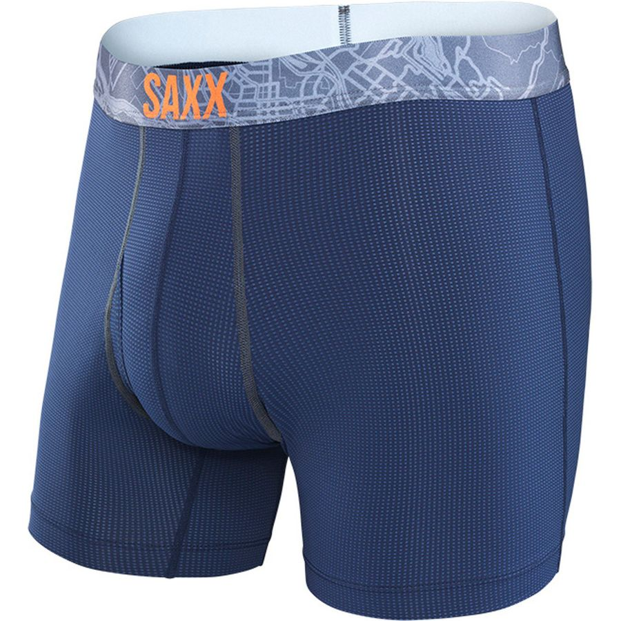 Saxx Quest 2.0 5in Boxer Brief - Men's Navy Charcoal アウトドア メンズ 男性用 アンダーウェア Underwear