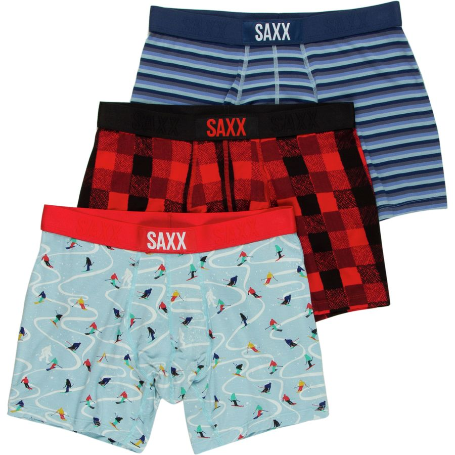 Saxx Vibe Boxer Brief Holiday 3-Pack - Men's Skier Plaid Frost アウトドア メンズ 男性用 アンダーウェア Underwear