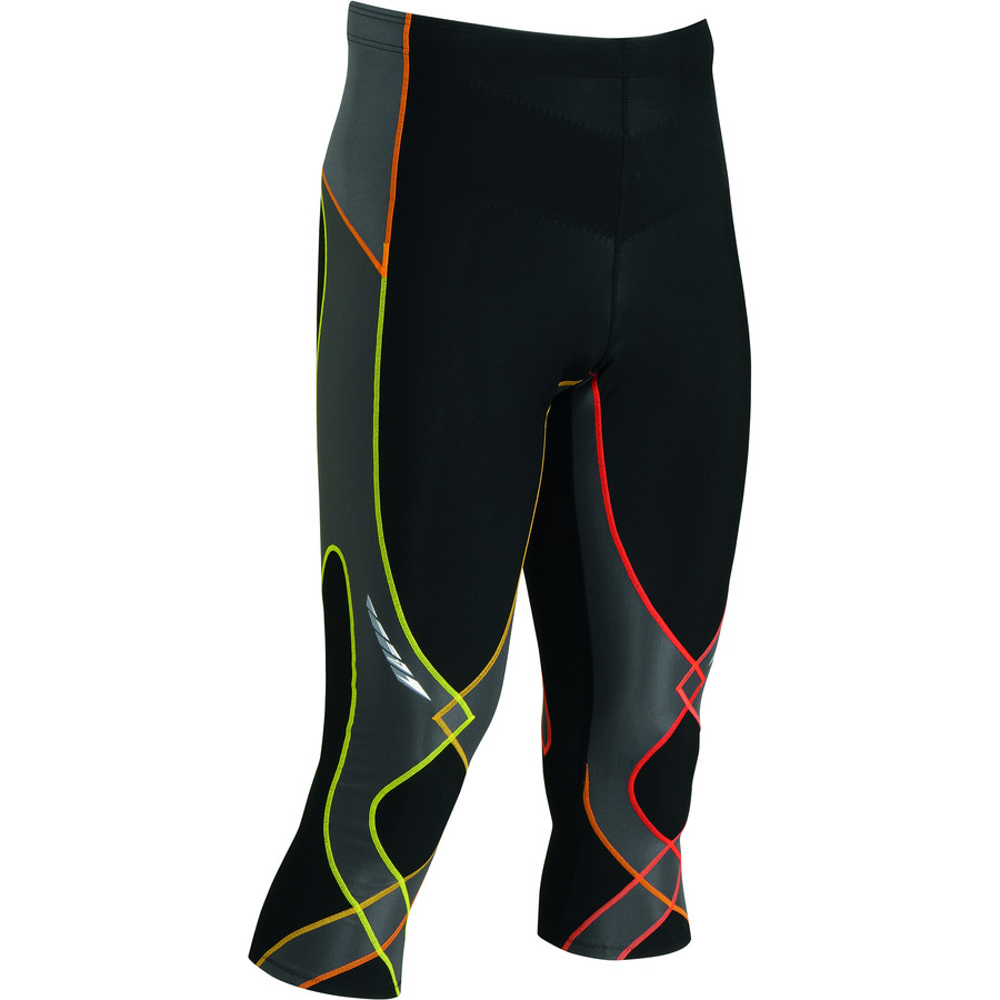 CW-X Insulator Stabilyx 3 4 Ski Tights - Men's Black Yellow Orange アウトドア メンズ 男性用 アンダーウェア