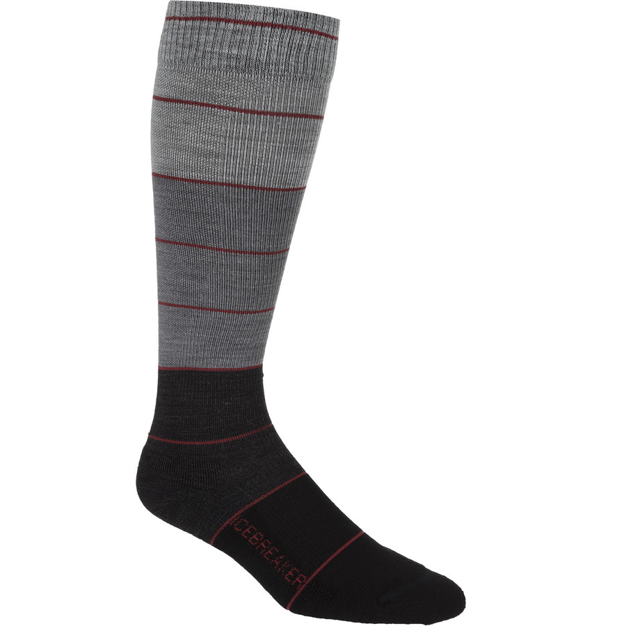 Icebreaker Lifestyle Compression Over The Calf Sock - Men's Black Jet Heather Twister Heather アウトドア メンズ 男性用 ソックス 靴下 Socks