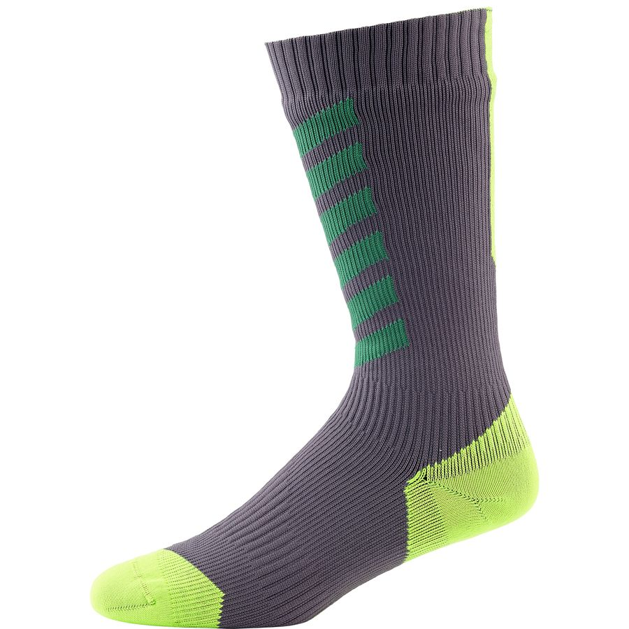 SealSkinz MTB Mid Sock with Hydrostop Anthracite Leaf Lime アウトドア メンズ 男性用 ソックス 靴下 Socks