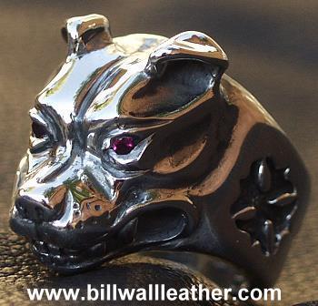 ビルウォールレザー BWL Bill Wall Leather R327S ラージ ドッグヘッド リング wストーン 指輪 シルバー カスタム ハンドクラフト