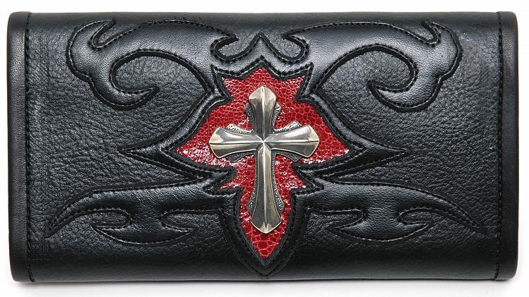 ビルウォールレザー BWL Bill Wall Leather XL Cross with Tribal Bill Wall Fine Leather Hand Crafted Wallets