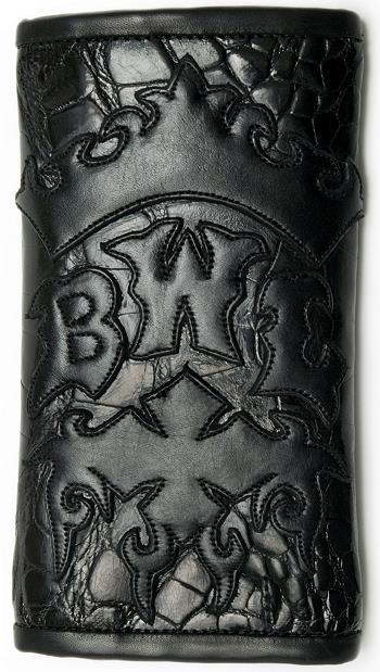 ビルウォールレザー BWL Bill Wall Leather BWL Crown on Black Gator Bill Wall Fine Leather Hand Crafted Wallets