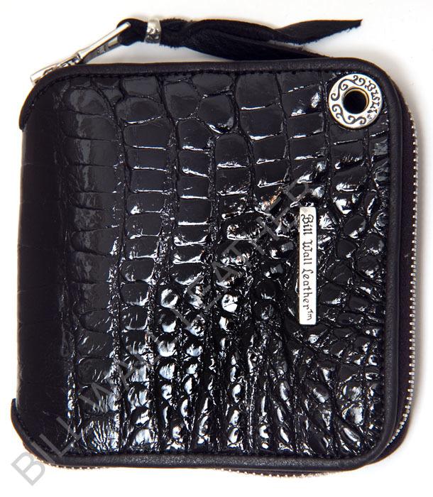 ビルウォールレザー BWL Bill Wall Leather W961 スクウェア シャイニー アリゲーターレザー ジッパーウォレット 財布 シルバー カスタム ハンドクラフト 革