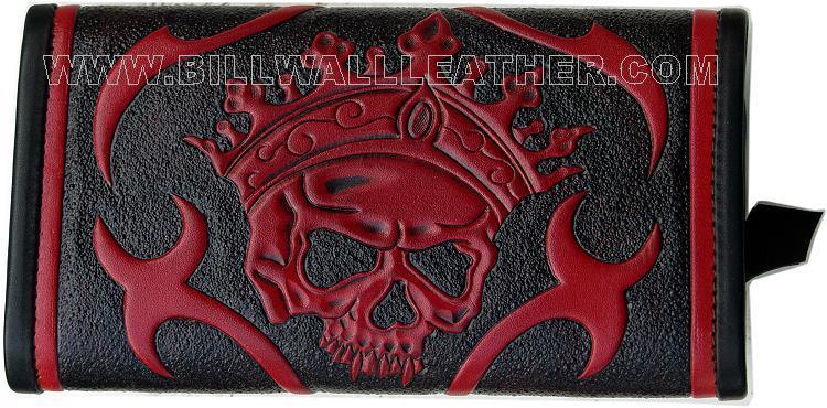 ビルウォールレザー BWL Bill Wall Leather W931 ブラック&レッド ツール スカル ウォレット 財布 シルバー カスタム ハンドクラフト 革