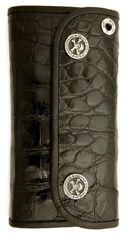 ビルウォールレザー BWL Bill Wall Leather W974 ハイブリッド ラージ シャイニーアリゲーター ウォレット 財布 シルバー カスタム ハンドクラフト ワニ 革
