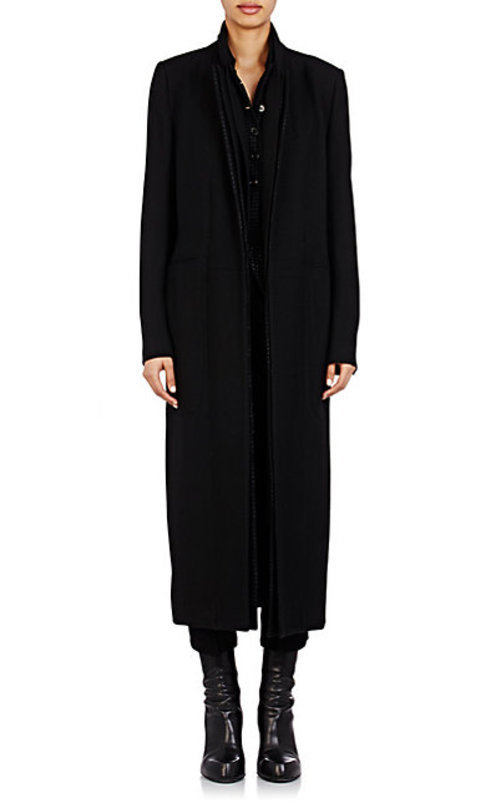 Ann Demeulemeester Mixed-Fabric Belted Coat