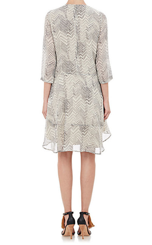 Barneys New York Zigzag-Print Georgette Dress