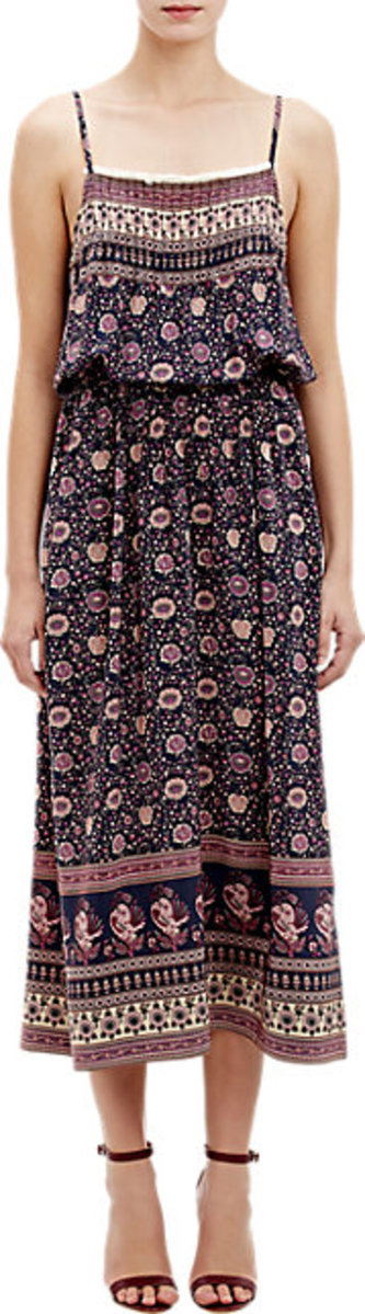 Sea Floral Pintuck Slipdress