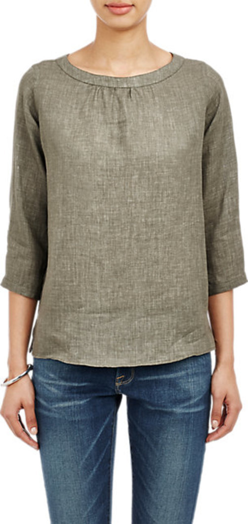 Barneys New York Slub Button-Back Top