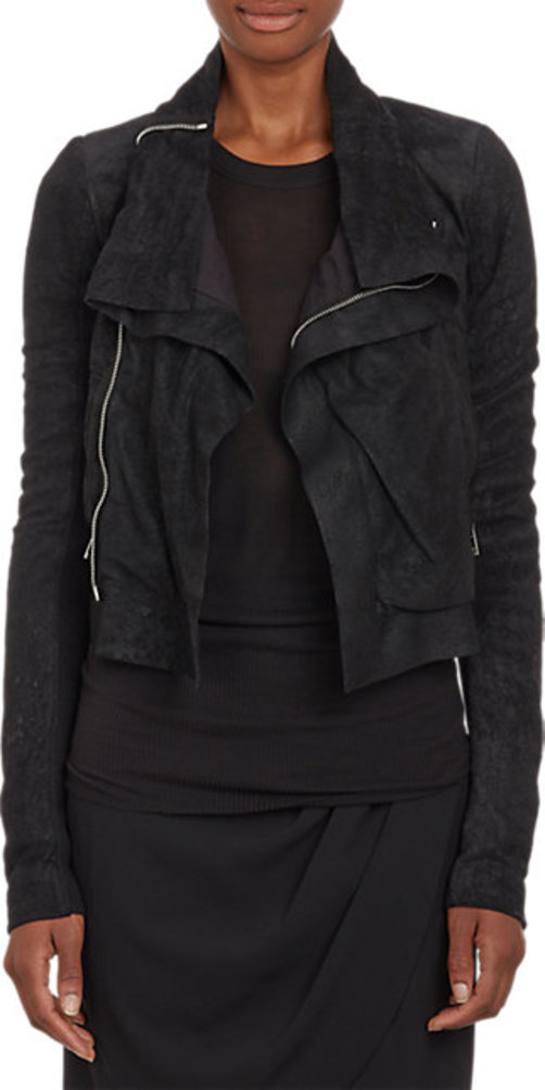 Rick Owens Blistered Leather Funnel Collar Jacket