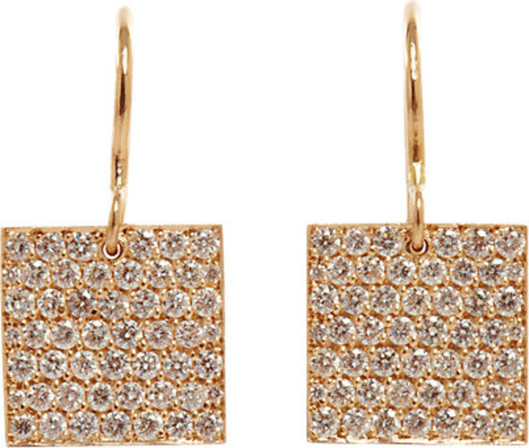 Irene Neuwirth Diamond Collection Square Drop Earrings