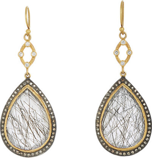 Sara Weinstock Quartz & Diamond Double-Drop Earrings