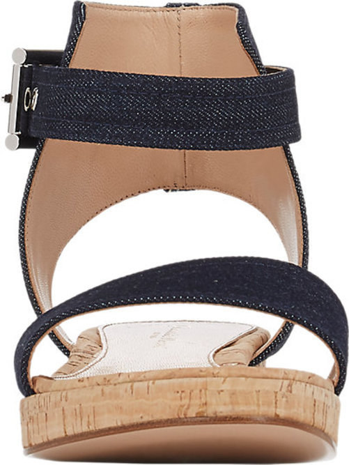 Gianvito Rossi Denim Ankle-Strap Platform Sandals