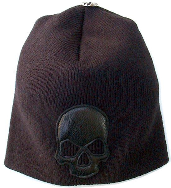 ビルウォールレザー BWL Bill Wall Leather Beanie w Leather Skull BWL Apparel - Tees, Lids, Hoodies and More!