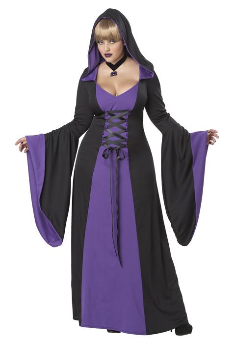 魔女 ローブ(紫) コスチューム ハロウィン コスプレ 衣装 仮装 大人用 面白い 大きいサイズ ビッグサイズ ホラー 怖い 学園祭 文化祭 学祭 大学祭 高校 イベント