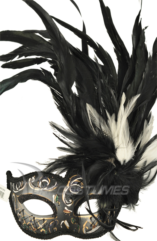 Carnivale Piume マスク (Black White) コスチューム ハロウィン コスプレ 衣装 仮装 面白い ウィッグ かつら マスク 仮面 学園祭 文化祭 学祭 大学祭 高校 イベント