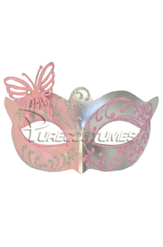 Child Butterfly ベネチアンマスク (Pink Silver) コスチューム クリスマス ハロウィン コスプレ 衣装 仮装 面白い ウィッグ かつら マスク 仮面 学園祭 文化祭 学祭 大学祭 高校 イベント