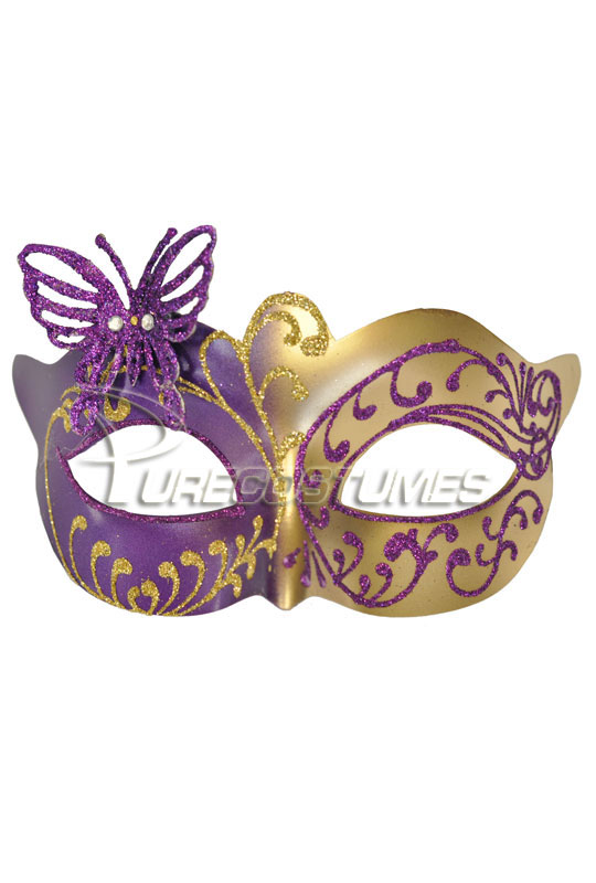 Child Butterfly ベネチアンマスク (Purple Gold) コスチューム ハロウィン コスプレ 衣装 仮装 面白い ウィッグ かつら マスク 仮面 学園祭 文化祭 学祭 大学祭 高校 イベント