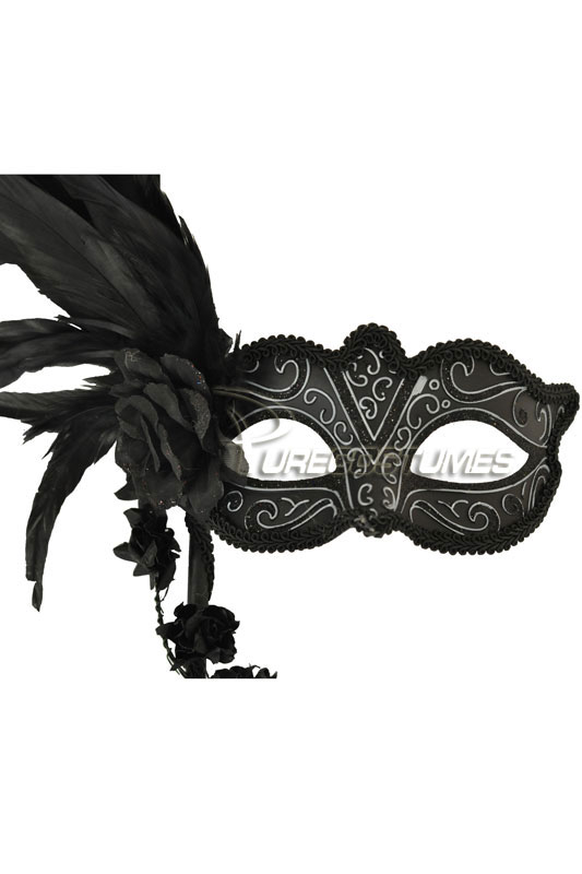Floral Cascade Venetian Stick Mask (Black Silver) コスチューム クリスマス ハロウィン コスプレ 衣装 仮装 面白い ウィッグ かつら マスク 仮面 学園祭 文化祭 学祭 大学祭 高校 イベント