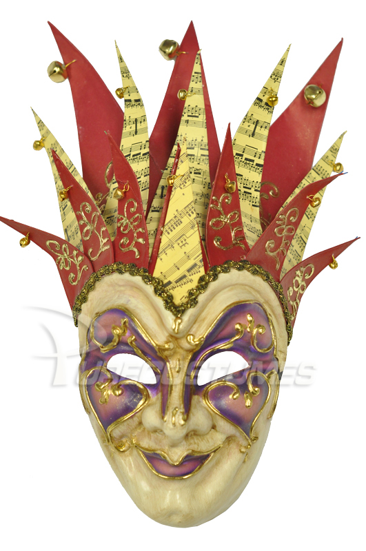 Jester Musica Paper-Mache Mask (Red Purple) コスチューム ハロウィン コスプレ 衣装 仮装 面白い ウィッグ かつら マスク 仮面 学園祭 文化祭 学祭 大学祭 高校 イベント