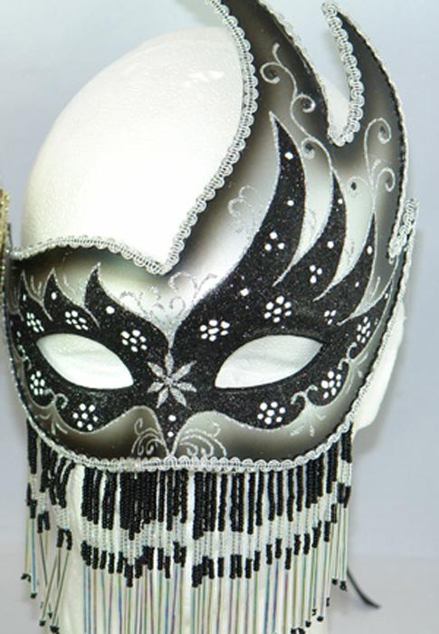 Venetian Crescent Mask with Jewelry (Black) コスチューム クリスマス ハロウィン コスプレ 衣装 仮装 面白い ウィッグ かつら マスク 仮面 学園祭 文化祭 学祭 大学祭 高校 イベント